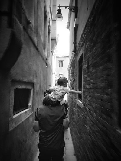 touching the beauty Travel Destinations Venezia Venice, Italy Narrow Street Narrow Alley Blackandwhite Black And White Black & White Blackandwhite Photography Black And White Photography Black&white EyeEm Best Shots - Black + White Touching Walking Around The City  Baby Unrecognizable Person City Residential Building Rear View Men Alley Lane Path Passage Narrow Walkway Destinations Adventures In The City Creative Space The Street Photographer - 2018 EyeEm Awards