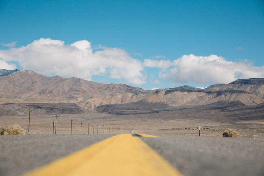 Arid Climate Arid Landscape Beauty In Nature Blue Sky CA-190 California Cloud - Sky Day Death Valley Desert Landscape Mountain Mountain Range Nature No People Outdoors Physical Geography Road Road Roadtrip Scenics Sky The Way Forward Tranquil Scene Tranquility