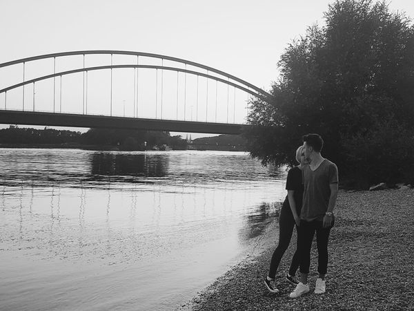 Love ❤ Girlfriend River Outdoors Full Length People Bridge - Man Made Structure Adult Adults Only One Person Water Day Men Only Men One Man Only Women Girl