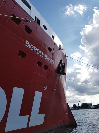 Red Nautical Vessel Industry Cloud - Sky Freight Transportation No People Harbor Outdoors Water Commercial Dock River Collection Water_collection Wereldhavendagen Discover Your City Taking Photos Taking Pictures Eye4photography  Boats And Water Ships⚓️⛵️🚢 Water Reflections Harbor Boats Ships Ship Riverside