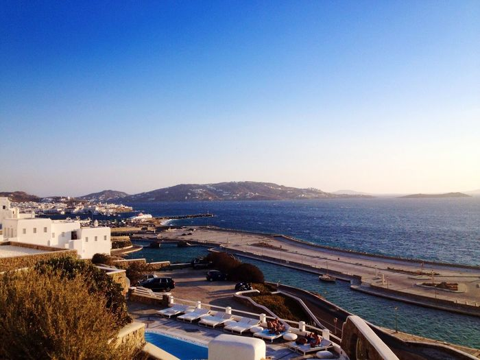 View Of Mykonos Against Clear Sky