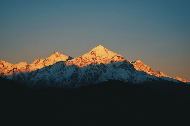 View Of Snowcapped Mountains Against Clear Sky