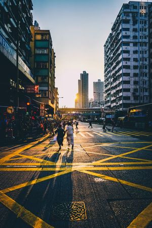 cityscapes Discoverhongkong Reframinghk Streetphotography City Architecture Building Exterior Built Structure Building Street Road Nature City Street Symbol Road Marking Office Building Exterior City Life Sky Transportation Real People Group Of People Marking Crossing Sign