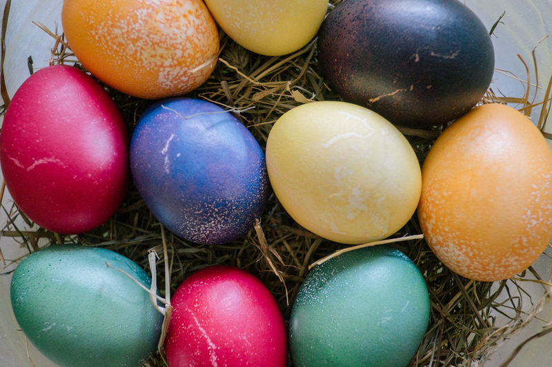 Easter Egg Easter Food Egg Food And Drink Celebration Multi Colored Holiday Still Life No People Close-up Indoors  High Angle View Large Group Of Objects Choice Freshness Variation Religion Easter Easter Egg Colorful