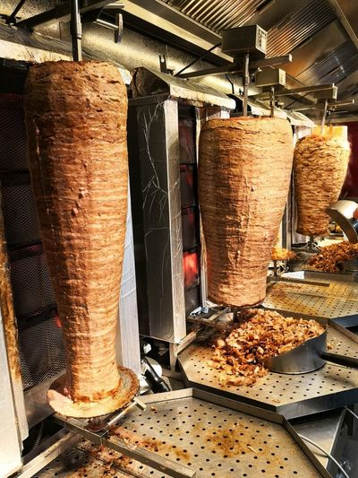 Kebap skewer at grill restaurant Doner Kebab Döner Döner Kebap Döner Kebap Meat Industry Cleaning Equipment Workshop Industry Drying For Sale Food And Drink Establishment Commercial Kitchen Shop Chef's Whites Butcher Retail Display Chef Stall Chef's Hat Display Manufacturing Equipment
