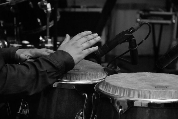 Salsa! Black And White Close-up Focus On Foreground Indoors  Men Musician Percussionist Person