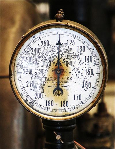 Antique Single Object Instrument Of Measurement Pressure Gauge Close-up Industry Steam