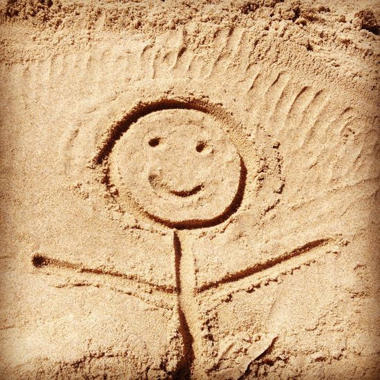Stick Man Beach Brown Close-up Day Drawing Nature No People Outdoors Sand Smiley Face Textured