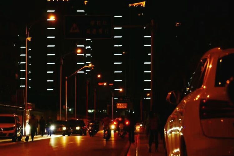 Night Illuminated City Car City Life Travel Destinations Nightlife Red Outdoors Architecture People Cityscape