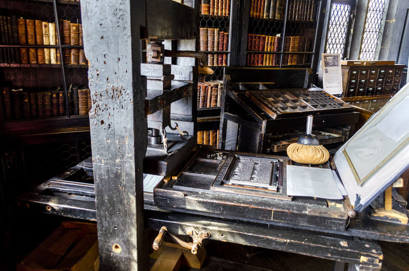 High angle view of old books in building