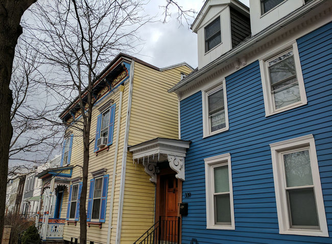 100-year-old frame houses in South Park Slope, Brooklyn. Lovely colours abound. Architecture Brooklyn Color Colors Frame House House Neighborhood Park Slope Residential District Row Houses Street Walking Around My Neighborhood Wood House