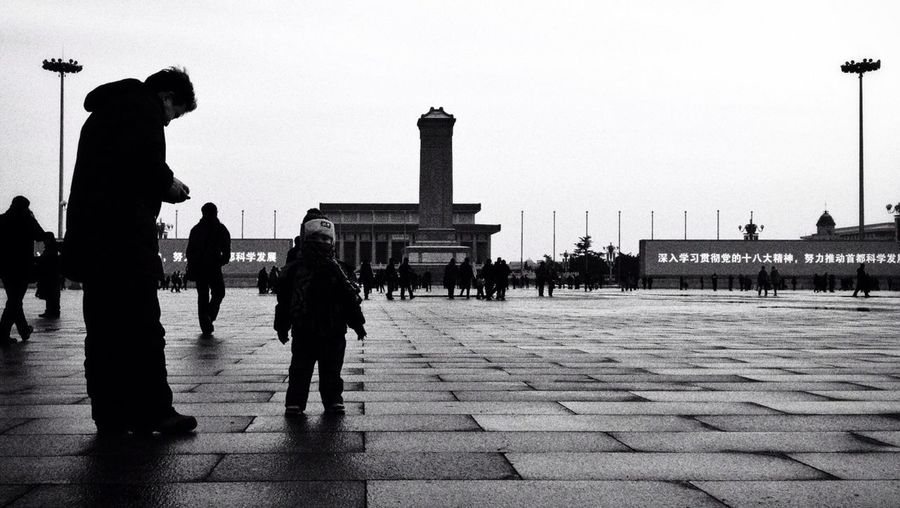 Enjoying The Sights Human Figure Silhouette The Human Condition Blackandwhite Black And White Beijing On The Road