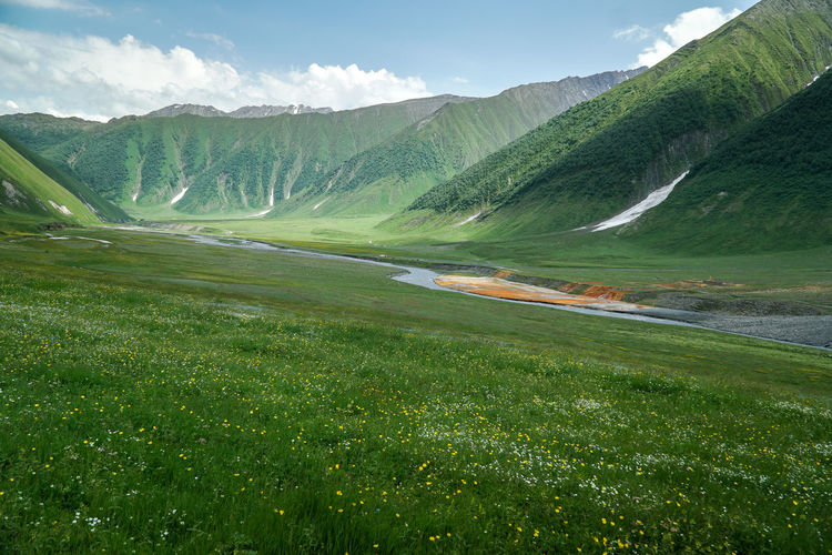 Scenic view of truso valley against sky in caucasus region