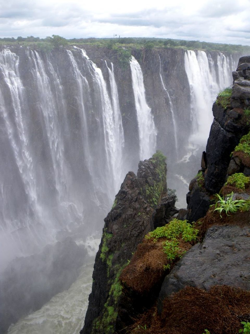 Scenic Shot Of Waterfall Against Clouds