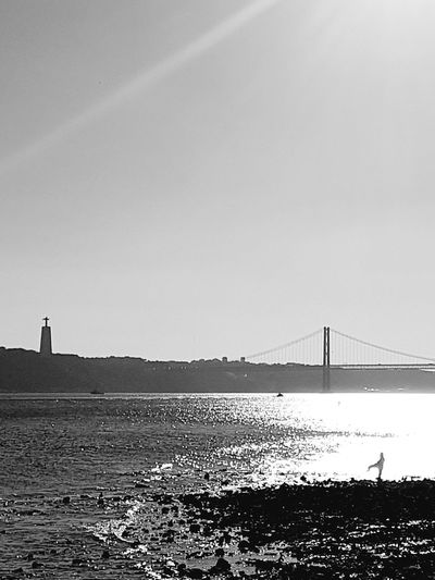 Water Sea Sky Built Structure Architecture Outdoors Beach Day Nature People Only Men Adults Only Adult Schattenboxen Lisboa Portugal Men Lost In The Landscape