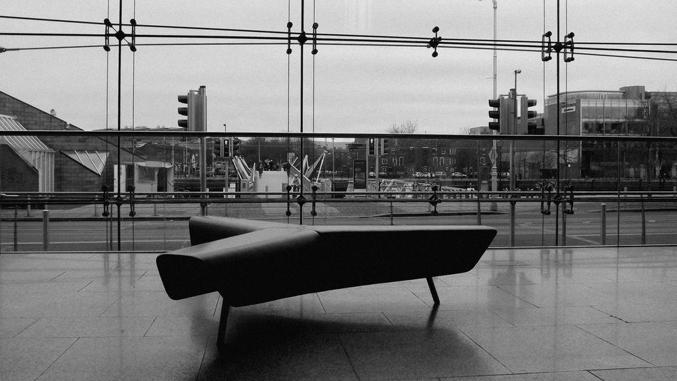 Architecture Black And White Built Structure Chq Building City Day Dublin, Ireland Empty Eye4photography  EyeEm Gallery Glass Indoors  No People, Indoors Observe Seat Silence Waiting