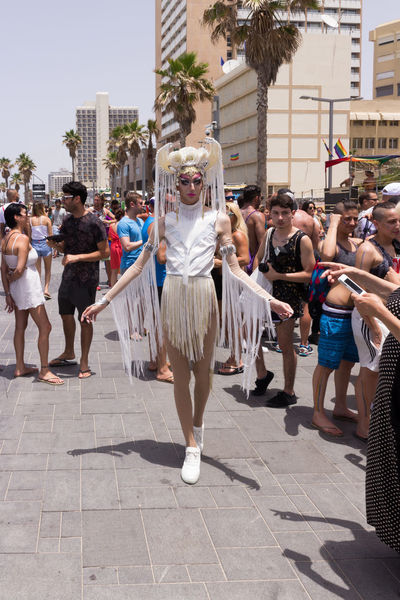 Tel Aviv, Israel, June 03, 2016: Members of the traditional yearly pride parade poses for the photographer in Tel Aviv, Israel Actions Celebrations Civil Colored Colors Cultures Day Flag Freedom Holidays Homosexual Love Lesbian Lifestyles Man Motion Multi Parade Patriotism Pride Rainbow Street Symbol Transgender Transsexual Woman