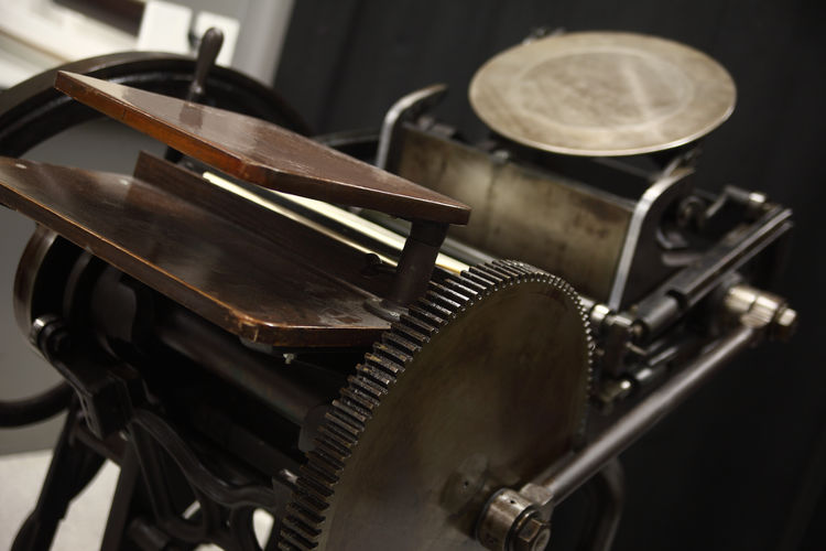 High angle view of old letterpress machine
