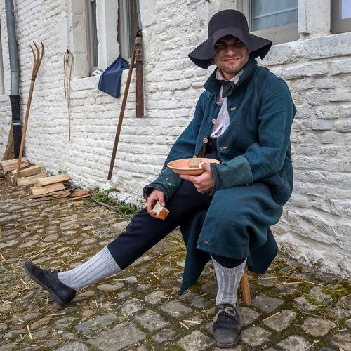 Farmer Hougoumont Reconstitution Historique Waterloo XIX Century Characters Hat Napoleon Wars Real People Reconstitution