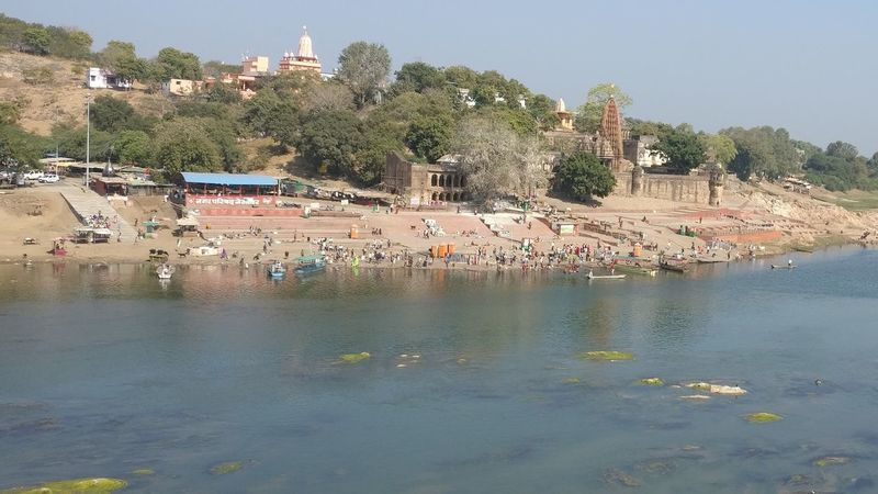 Holy Place Nemawar Lord Shiva Temple River Bank View River Bank And Reflection In Water Water Reflection Tree Nautical Vessel Outdoors Day