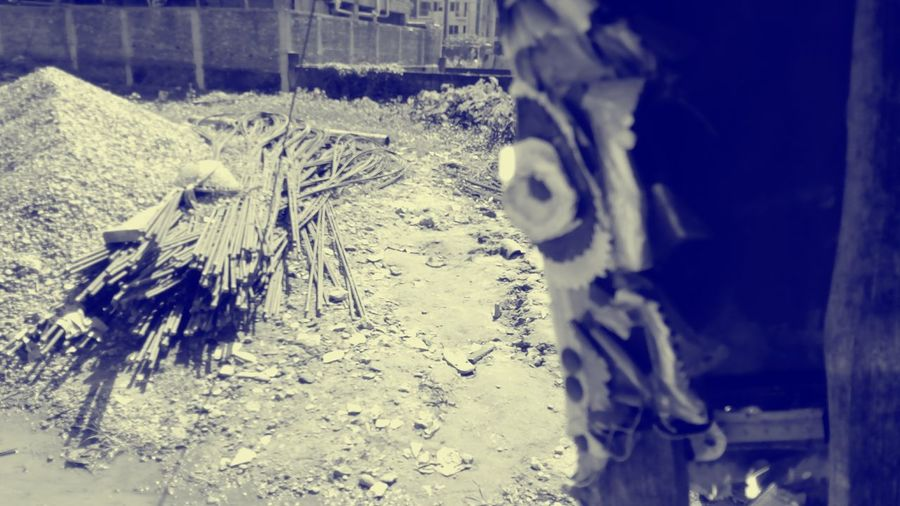 Day Outdoors No People Random Randomclick Selective Focus The Way Forward City Random Shots A Little To The Left Construction Site Sand Metal And Rocks From Under The Shade Workinprogress Duotone
