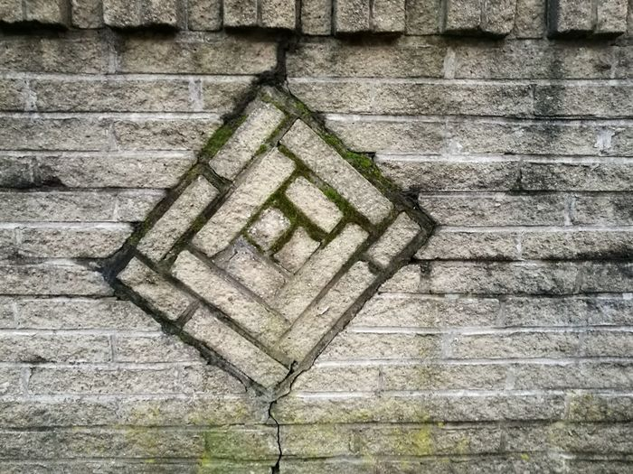 Day Outdoors No People Architecture Built Structure Stone Tile Geometry Pattern Textured  Weathered Exposed To The Elements Moss Stone Geometric Shapes AI Now
