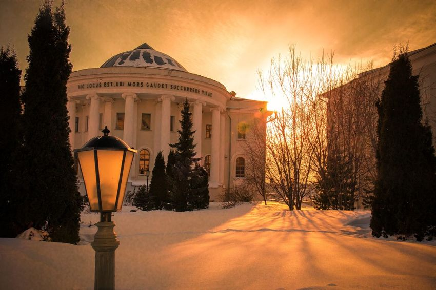 sunset Kazan Russia Architecture Snow Built Structure Winter Cold Temperature Building Exterior Illuminated Outdoors Night Sky Nature