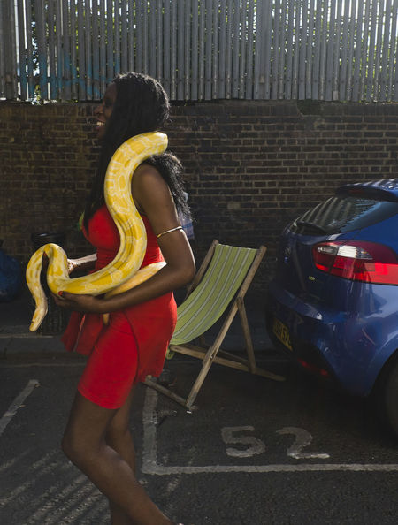A woman pet a massive Albino Burmese Python in Portobello Road on 8th of July 2018 in London, United Kingdom. The snake, can grow up to 25 feet long and can get over 200 pounds at full growth. You must follow the rules if you're importing non-native animals into the UK or planning to keep them in the UK, including pets. (photo by Lorenzo Grifantini) London Red Snake Adult Burmese Python Hairstyle Lifestyles Outdoors Uk Women Yellow Python