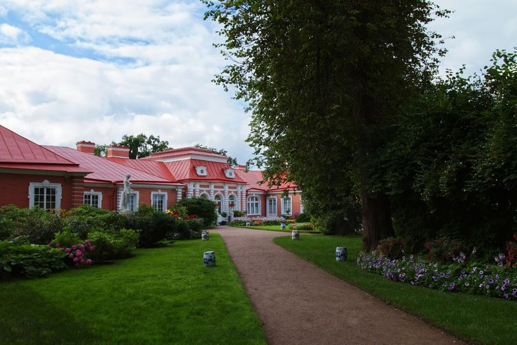 View of Peterhof Gardens / Saint Petersburg Flower Garden Path Grass Peterhof Palace Peterhof Petergof Russia Tree Plant Built Structure Architecture Tree Building Exterior Sky Cloud - Sky Nature Building House Grass No People Day Green Color Flowering Plant Footpath Outdoors Flower