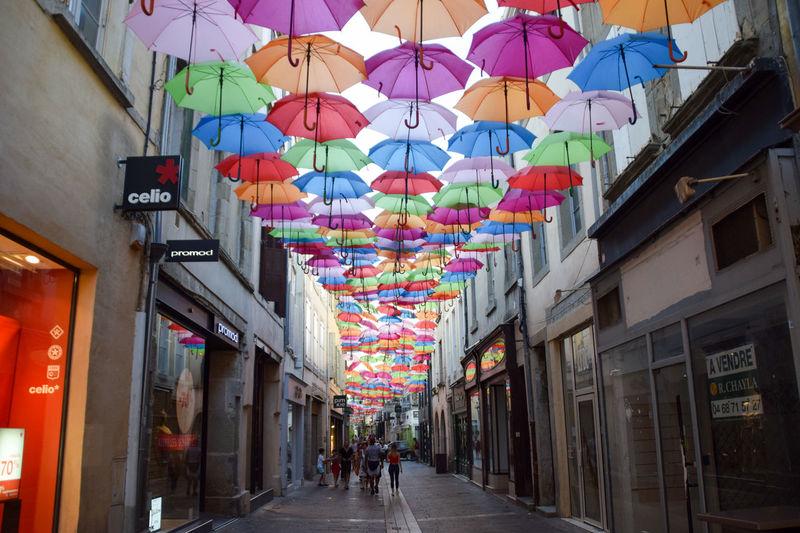 Regenschirme Umbrellas Umbrellastreet Umbrella Carcassonne Multi Colored Colour Your Life Colour The World City The Way Forward Street Outdoors