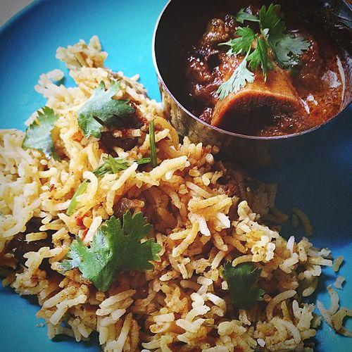 mutton rogan josh 空色のお皿で。 Homemade Foodphotography Cooking Pakistan Biryani Curry