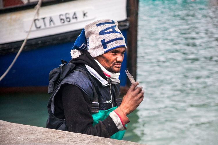 Portrait Fisherman Sealife Houtbay Harbour Southafrica The Portraitist - 2014 EyeEm Awards Telling Stories Differently Feel The Journey