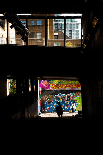Leake St Leake Street Tunnel London Architecture Art And Craft Building Exterior Built Structure Day Graffiti Indoors  Light And Shadow Men Multi Colored One Person People Real People Silhouette Unseen London TheWeekOnEyeEM