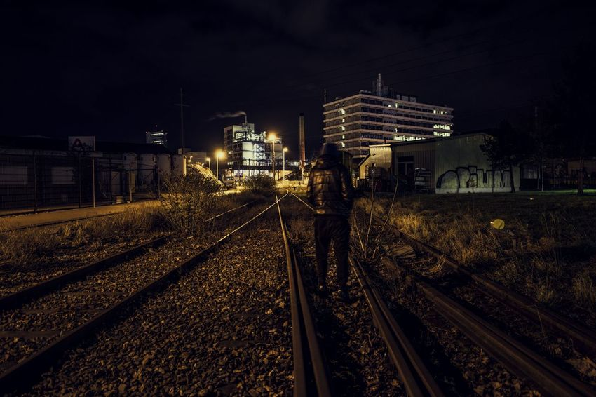 Dark Industrial Industry Abandoned Abandoned Railway Grafitti Industrial Area Night One Person People Railway Track Real People Streetphotography The Way Forward Urban