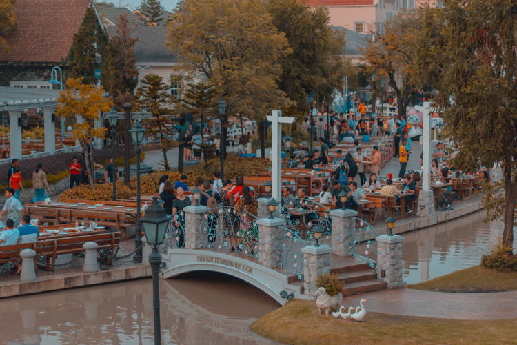 High angle view of people in town square