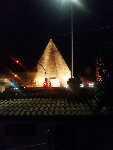 Rome by night no filters Pyramid By Night Bliss City Illuminated Sky Architecture Building Exterior Music Concert Historic Street Light Egyptian Culture Ancient Egyptian Culture