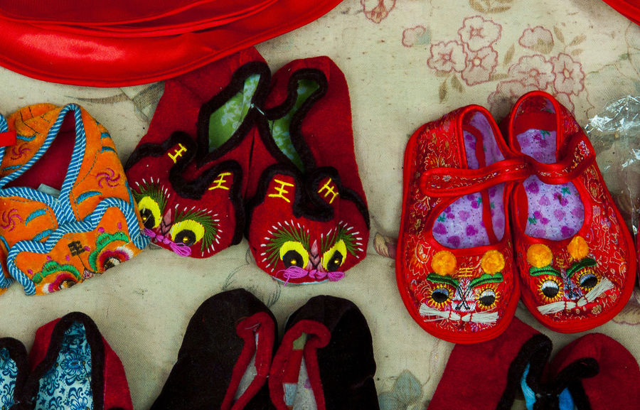 Multi Colored No People Red Indoors  Day Close-upBaby tiger shoes🇨🇳
