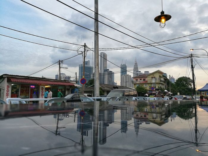 Sky Reflection Cable Cloud - Sky Outdoors No People Hanging Water Day Modern Architecture City