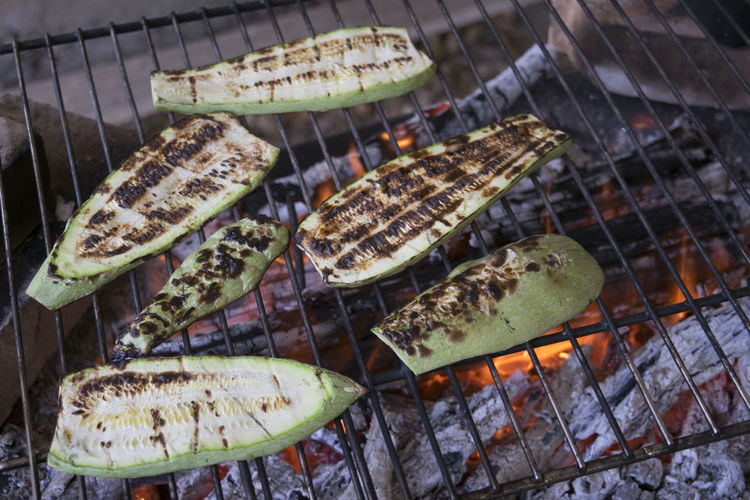 Close-Up Of Zucchini On Barbecue Grill