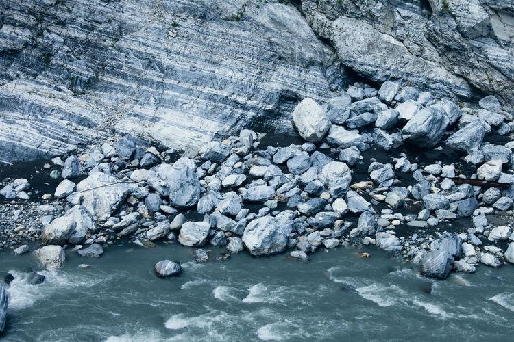 Full frame shot of frozen water on rock