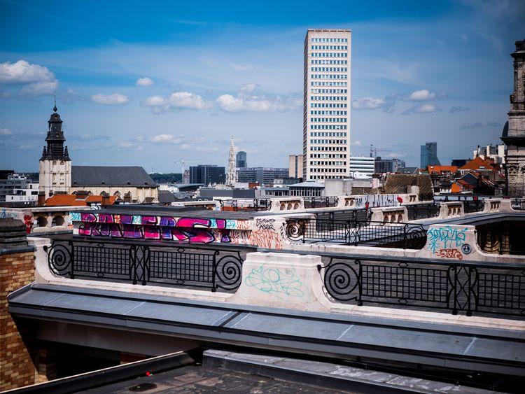 Politics And Government Skyscraper Bridge - Man Made Structure Subway Train Modern City Life High Angle View