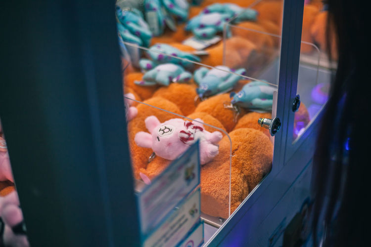 High angle view of stuffed toys in vending machine