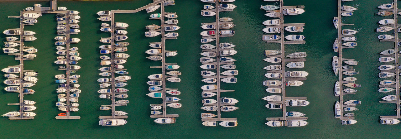 Aerial view of boat moored at harbor