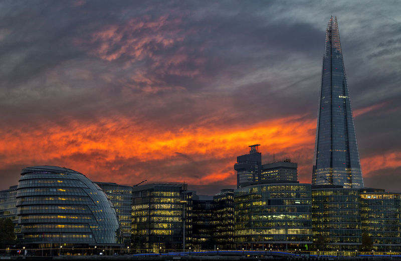 Shard London Bridge Against Cloudy Sky During Sunset In City