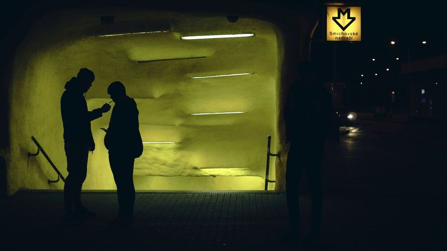 Waiting for a bus Prague Night Light Yellow Silhouette People Streetphotography Street Street Photography Cinematic Sony A6000