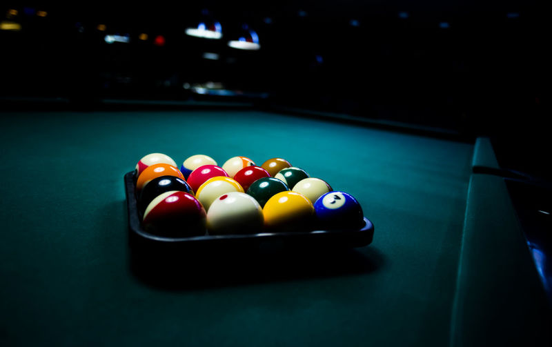 Close-up of colorful pool balls