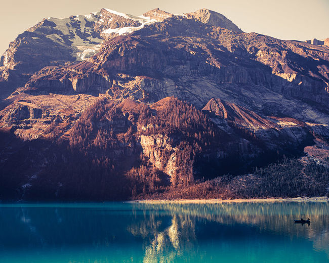 Scenic view of lake by mountain