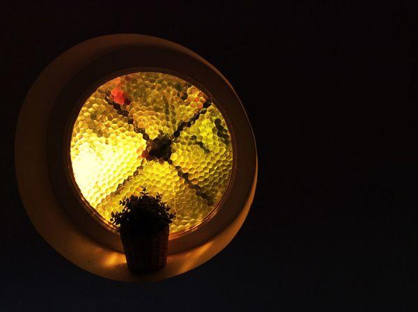 'Isolation' Window Circular Window Yellow Light Plant Pot Plant Dark Contrast -- B