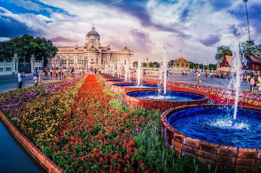 Ananta Samakhom Throne Hall, Bangkok Flowers Hall Throne Thailand Bangkok Architecture Water Sky Cloud - Sky Fountain Outdoors Spraying Swimming Pool No People Nature Day