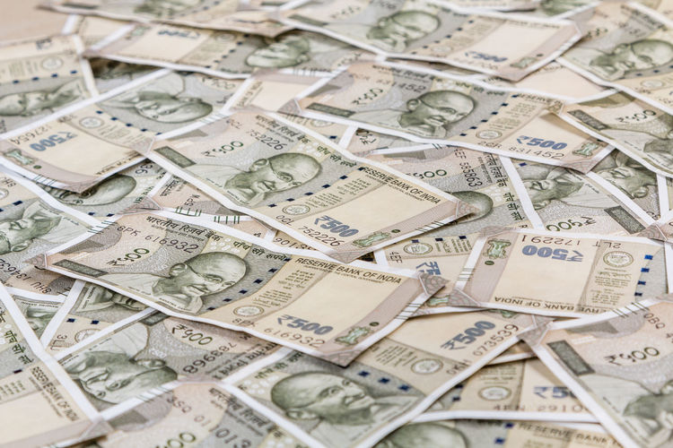 Full frame shot of indian paper currency